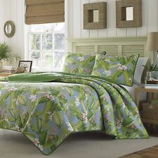 King Size Tropical Coastal Quilt Set Blue Green Floral Bedding Tommy Bahama New