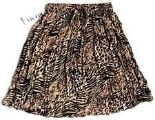 Short Full Skirt Animal Print Tan Black Rayon Stretch Waist One Size  #63