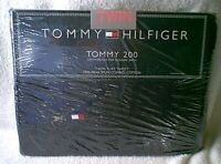 Tommy Hilfiger TOMMY 200 Twin Size NAVY Dark Blue Flat Cotton Bed Sheet NEW NWT
