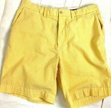 Ralph Lauren Polo Yellow White Seersucker Stripe Golf Shorts  Size 34