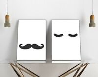 Set of 2 Moustache Lashes His Hers Bedroom Home Decor Poster Prints Wall Art Dec