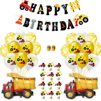Construction Birthday Party Decor Excavator Balloons Dump Truck Pull Flag Set