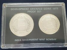 INDIA 1973 BOMBAY MINT DEVELOPMENT ORIENTED PROOF SET SILVER COINS 10 & 20 RUPEE
