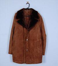 Vintage Sheepskin Coat in Brown Genuine Suede Leather Mens XL X-Large