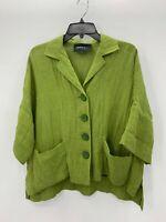 Lafayette 148 New York Womens Petite S Small Green Long Sleeve Linen Top