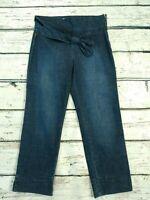 Moschino Big Bow Denim Pull On High Waist Jeans Cropped Baggy Dark Blue W32