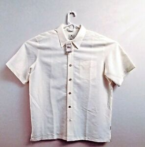 Solitude Mens Button Up XL Short Sleeve Palm Shirt Off White Cream Lensing Modal