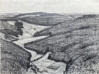 Paul Westerfrölke 1886-1975 Drawing Bewaldete Hilly Landscape Rhön ? Dated