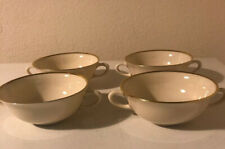 4 Lenox MANSFIELD Flat Cream Soup Bowls w/handles Made in USA 4 7/8""