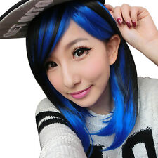 Hot Two Tone Black Blue Cosplay Wig Short Straight Fluffy Hair Wigs For Women