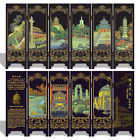 1pc 47cm Chinese Old Handwork Lacquer Painting Beijing Scenery Pattern Screen