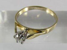 Solitär Ring 18K 750 Gold bicolor Diamant im Altschliff ca. 0,38ct. Wesselton