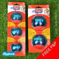 KONG Squeezz Action Ball Dog Toy - Squeaky Rubber Chase Play Bounce Bouncy