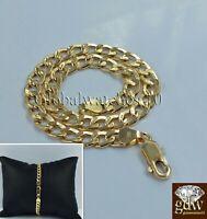 "REAL 14k Men Yellow Gold Cuban Link Bracelet 8"" Inch, Strong Link, Lobster Lock."