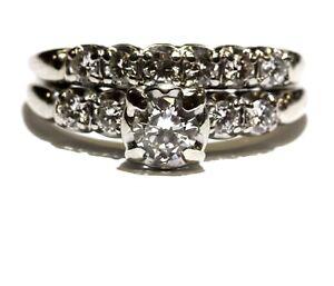 14k white gold .88ct round diamond engagement ring wedding band 6.1g vintage set