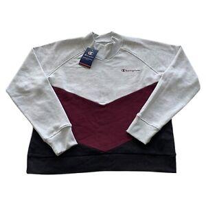 Champion Athletic Wear Gray Purple Colorblock Mockneck Sweatshirt Men's XL