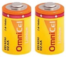 OmniCel 1/2AA Size Lithium Batteries ER14250 (3.6V 1200mAh), Button Top 2 Pack
