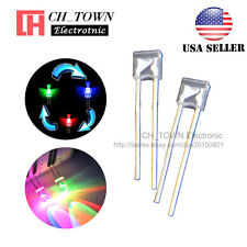 100pcs 2x3x4mm Rainbow Water Clear RGB 2Pin Slow Flash Flashing LED Diodes USA