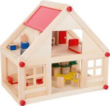 Wohnhaus Puppenhaus aus Holz inkl. Möbel Spielhaus Puppen Haus für Kinder Neu