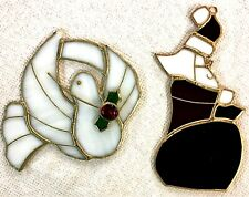 Two Tiffany???  Stained Glass Christmas Dove Santa Sun Catcher