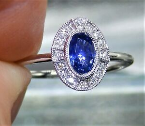 18CT WHITE GOLD 0.59ct SAPPHIRE DIAMOND ART DECO  HALO CLUSTER ENGAGEMENT RING