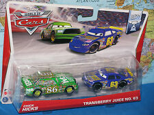 DISNEY WORLD OF CARS CHICK HICKS & TRANSBERRY JUICE NO. 63 PISTON CUP 2 PACK NEW