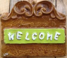 Welcome scroll, plaque, stone,  plastic mold, concrete mold, cement, plaster