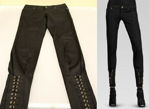 $795 NEW Gucci Women's Black Lace Up Skinny Pants Legging Jeans 38, 264465