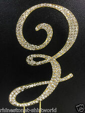 "GOLD Plated Rhinestone  Monogram Letter ""Z""  Wedding Cake Topper  5"" inch high"