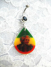 BOB MARLEY SMILING SLOUCH BEANIE HAT RASTA COLORS ON BLACK CZ BELLY BUTTON RING