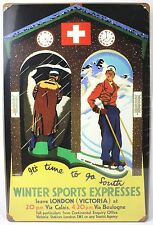Winter Sports Expresses Metal Sign London Train Snow Ski New Vintage Repro Usa