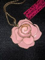 Betsey Johnson Necklace ROSE Baby Pink  CLASSY Gold Crystals Enamel