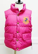 Ralph Lauren Reversible Vest Down Feather Fill Pink Green Crest Pony Logo Small