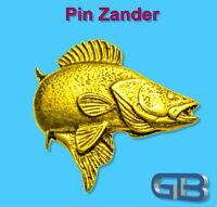 ANSTECKNADEL PIN, Fisch Zander aus Zinn, farbe Gold, Silber, Bronze