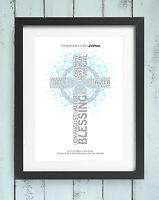 Personalised Christening Baptism Word Art Picture Print Keepsake Gift Girl Boy