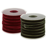 2*20 Yard 10mm Wide Velvet Ribbon Roll Handmade Crafts Wine Red and Green