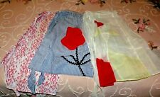Vintage Half Aprons Lot of 3 Semi-sheer Hostess Red Applique Farmouse Chic