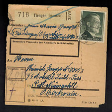 1944 Tiengen Germany Parcel Cover Loibl Pass Concentration Camp Mauthausen KZ