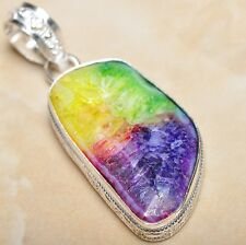 "Handmade Rainbow Solar Quartz Crystal 925 Sterling Silver Pendant 2"" #P08736"