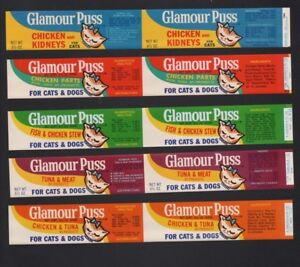 Glamour Puss Cat and Dog Food Labels - Original Old Vintage Can Label