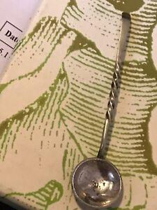Rare Antique Solid Silver Coin Condiment Spoon