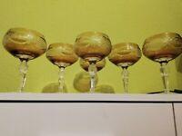 Römer Sekt schale Glas  Weinglas Geschliffen Bleikristall  Überfang 6 Stück