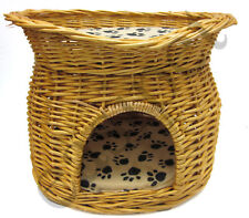 Wicker Pet Bed Cat Puppy Small Dog Basket Pod Two Tier Cushion House Easipet