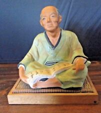 Hakata Urasaki Dolls Japanese Man with Scroll Figurine on Original Mat