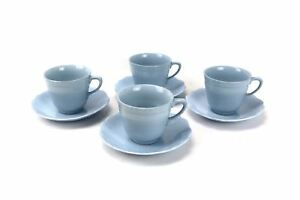Lot of 4 J&G MEAKIN England CELESTE Glamour Baby Blue DUO Set Tea Cup and Saucer
