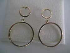 Gold dangling earrings 9 carat yellow double circle