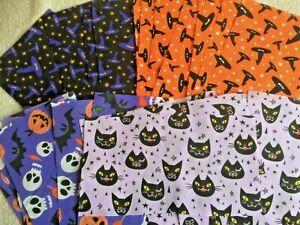 35 x HALLOWEEN Patchwork Bundle Fabric Polycotton Scraps WITCH PUMPKIN CAT