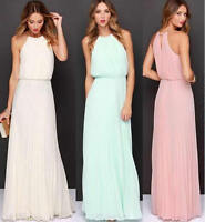 Women Sleeveless Chiffon Pleated Long Dress Maxi Evening Formal Party Wedding