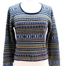 NORM THOMPSON Women's Blue Beaded Fair Isle Scoop Neck Pullover Wool Sweater