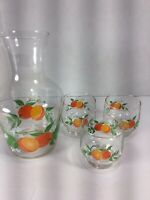 Vintage Glass Orange Juice Carafe Pitcher & 3 Glasses Oranges and Green Leaves